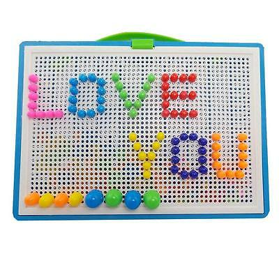 Kids Puzzle Peg Board With 296Pegs Creative Educational Toys ForChildren Gift]