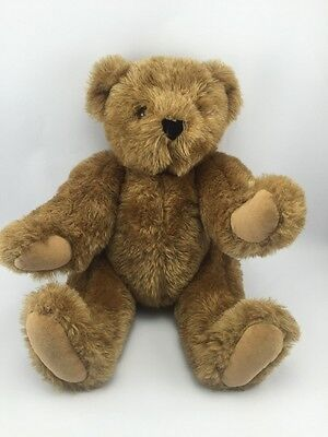 """VERMONT TEDDY BEAR Brown Plush 16"""" Fully Jointed Handmade in Vermont,USA exl con"""