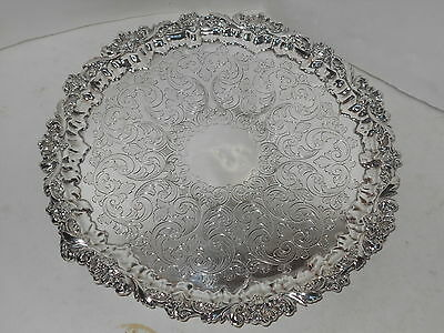 Antique Barker Ellis Silverplated Salver Tray With Sterling Mounts 1912