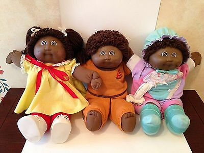 Lot of 3 Black African American Cabbage Patch Kids dolls with Clothing