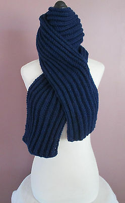 Navy Blue 75 Inch Ribbed Scarf Hand Made Hand Knit