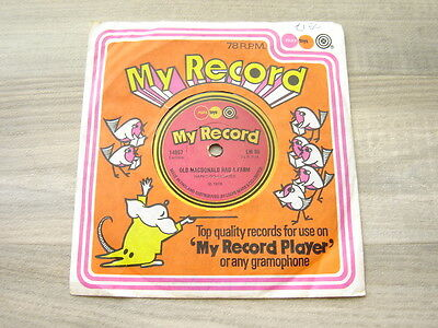 "childrens 60s70s 6"" toy vinyl MY RECORD novelty NURSERY RHYMES odd unusual 78RPM"