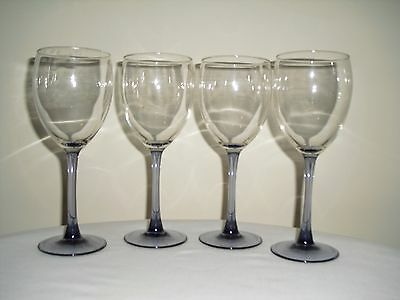4 Amethyst / Purple / Lavender Stem Cris d'arques Wine / Water Goblets Glasses