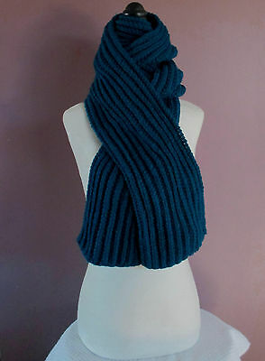 Long Scarf 80 Inch Dark Teal-Peacock Blue Handknit Ribbed Scarf