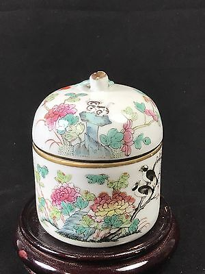Chinese Famille Rose Porcelain Box With Lid With Guangxu Mark