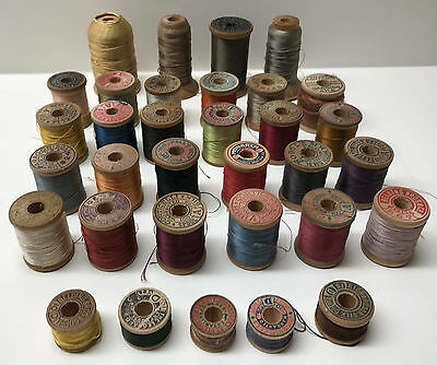 Vintage Lot 33 Spools Silk Thread Corticelli Belding Bros. Paragon Fly Fishing