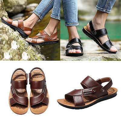 Summer Slippers PU Leather Sandals Men Outdoor Shoes Casual Leather Sandals