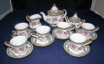 Limoges Miniature Childs Tea Set 6 Cups & Saucers & Teapot, Sugar Bowl Creamer