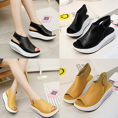 New Style Shoes Female Summer Sandals Leather Thick Bottom Casual Shoes
