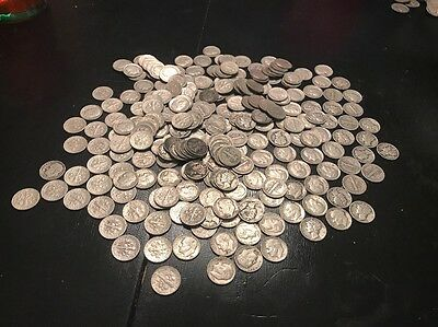 Lot Of 250 Roosevelt And Mercury Dimes $25 Face Value