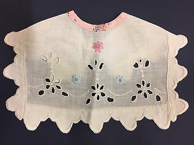 vintage 1930 baby's bib/ collar Hand embroidered Linen Floral design Handcrafted