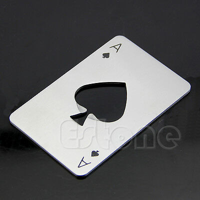 Bar Tool Bottle Soda Beer Cap Opener Wine Playing Card Ace of Spades Poker Gifts