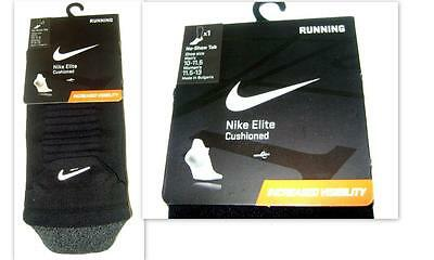 NIKE Elite Cushioned No-Show Tab Running Socks 2 pk! Men 10-11.5 Women 11.5-13!
