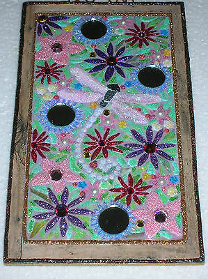 Vtg Img Wood Slice Stained Glass Mosaic Mirror Glitter Ornament Vintage Image