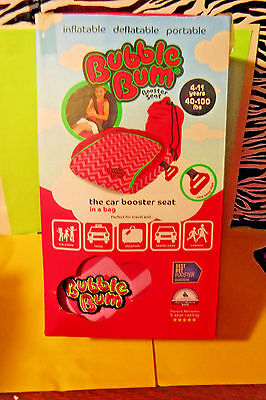 PINK BUBBLE BUM INFLATABLE CAR SEAT TRAVEL BAG BOOSTER SEAT! 4-11yrs. 40-100lbs.