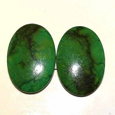 MATCHED PAIR 100% NATURAL TIBET TURQUOISE OVAL CABOCHON LOOSE GEMSTONE 39.30Cts.