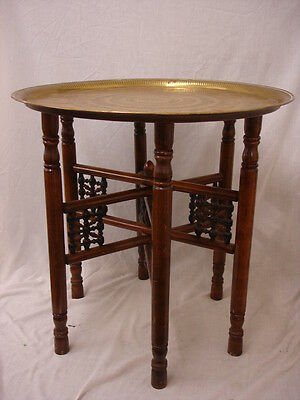 Folding Table Round Brass Top With Wooden Legs 58Cm Dia