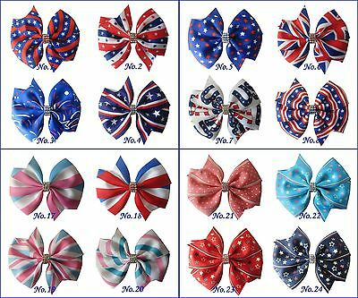 """24 BLESSING Good Girl 3.5"""" Wendy Hair Bow Clip National Flag Independence Day"""