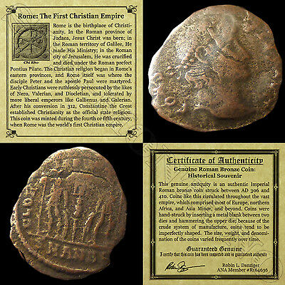 First Christian Empire ROMAN BRONZE COIN Genuine Ancient Antique from 306-410 AD