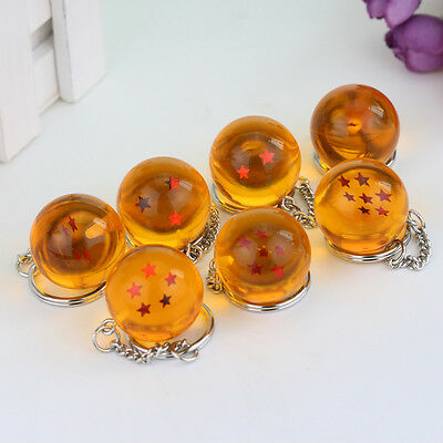 7pcs Dragonball Dragon Ball Z 1-7 Stars 3.5cm Crystal Balls Keychain Keyring Set
