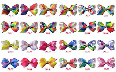 "50 BLESSING Good Girl Boutique 2.5"" Rainbow ABC Hair Bows Clip Accessories"