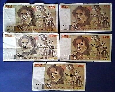 FRANCE: 5 x 100 Francs Banknotes Fine Condition