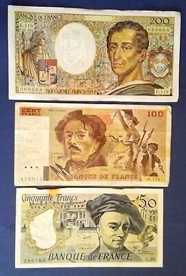FRANCE: Set of 3 Francs Banknotes Very Fine Condition