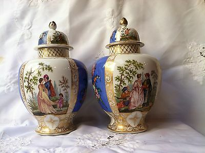 A Pair Of Huge Antique Meissen Dresden Helena Wolfsone St Porcelain Vases Urns