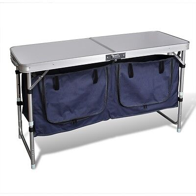 S# Outdoor Camping Table Folding Picnic Aluminium MDF Garden Cupboard Storage Pa