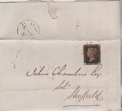 1841 QV GREAT BRITAIN COVER 3.5 MARGIN 1d PENNY BLACK STAMP PLATE 8 Cat£1000+