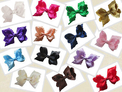 "14 BLESSING Happy Girl Boutique Hair Accessories Ruffle Ribbon 4"" ABC Bow Clip"