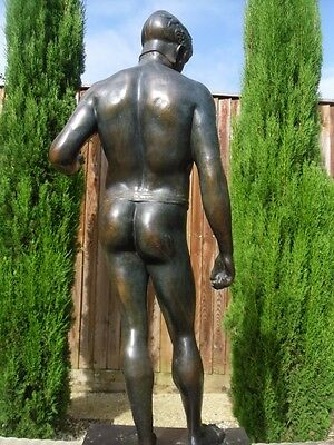 A VERY LARGE ANTIQUE 19th CENTURY BRONZE STATUE MALE NUDE FIGURE
