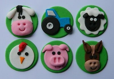 6 edible FARM ANIMAL cake CUPCAKE topper DECORATION pig COW sheep TRACTOR horse