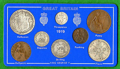1919 George V Selected 8-Coin Year Set On Card ( 2/6 - 1/4d ) Inc 5 Silver Coins