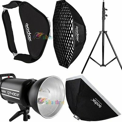 Godox QT400IIM 400W 2.4G HSS 1/8000s Studio Strobe Flash + Softbox + Light Stand