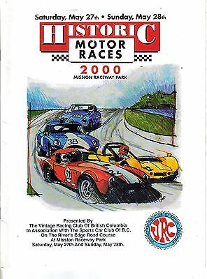 Historic Motor Races Program Mission Raceway 2000 British Columbia Canada
