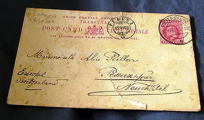 1903 Transvaal Post Card, Postally Used To Switzerland.
