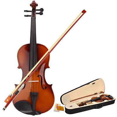New Full Size 4/4 Acoustic Violin + Case + Bow + Rosin Natural Color UK