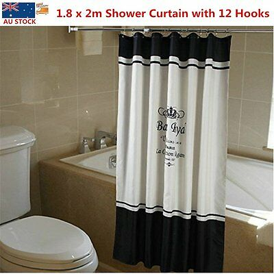 Polyester Modern Waterproof Bathroom Shower Curtain 12 Decorative Hooks 1.8 x 2m