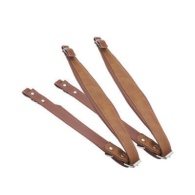 2PCS Adjustable Length Quality Thick Accordion Leather Shoulder Straps Brown UK