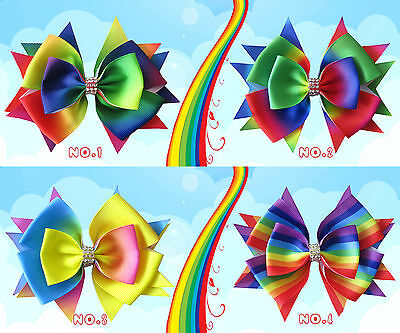 "50 BLESSING Good Girl Boutique 4.5"" Rainbow Stylish Hair Bow Clip"