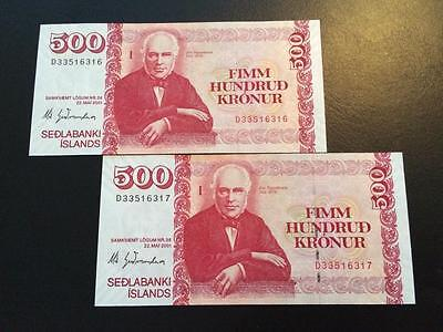 Iceland banknotes,  2 x 500 kr. Consequtive serial numbers  UNC