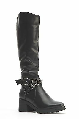 Womens Ladies Black Faux Leather Block Heel Knee High Boots Size 4,5,6,7,8 New