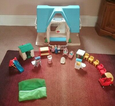 Adorable Vintage Little Tikes Dollhouse With Accessories 22 Pieces