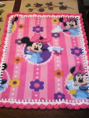 BABY GIRL PINK MINNIE MOUSE BLANKET PLUSH SECURITY LOVEY Pink striped