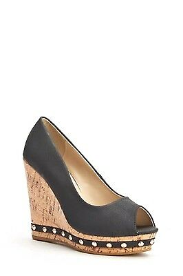 Womens Ladies Black Faux Leather High Wedge Heel Peep Toe Shoes Size 4,5,7,8 New