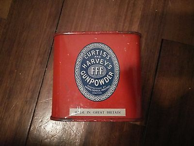 Vintage black gun powder tin box can CURTIS'S & HARVEY scatola latta caccia