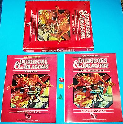 1983 Tsr Dungeons & Dragons Basic Rules Set 1 Rpg Player's Manuals Box & Dice