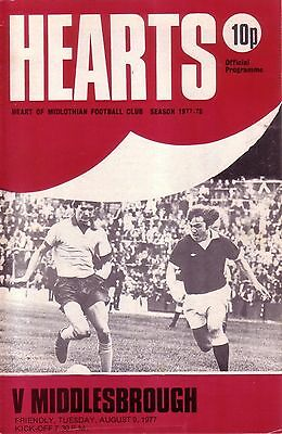HEARTS v MIDDLESBROUGH 1977/78 FRIENDLY