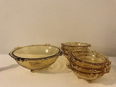 Full Set Vintage Footed Amber Glass Bowl Set Of 7 - 1 Larger & 6 Small Matching